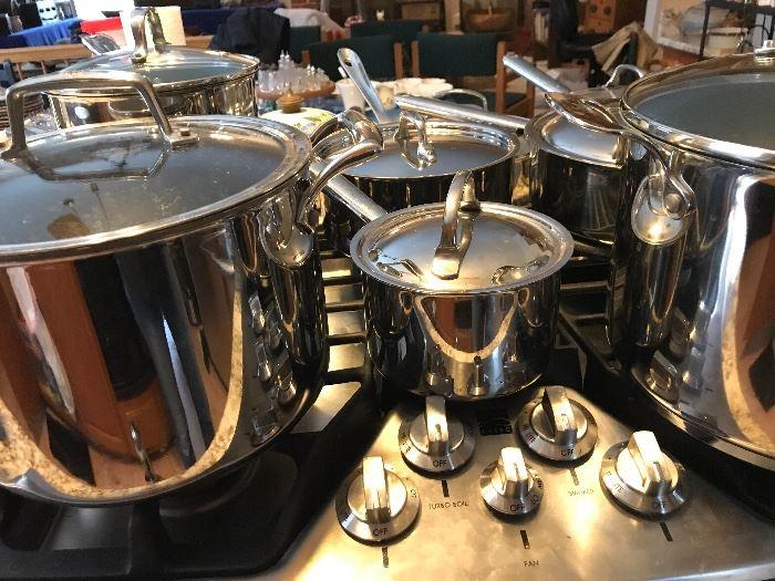 Assortment of All Clad, Cuisinart, etc.