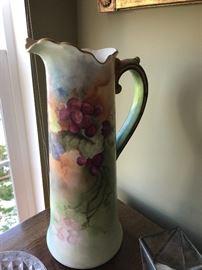 Belleek hand painted pitcher
