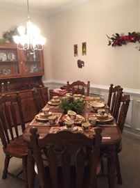 Dining room table w/six chairs - Franciscan Earthenware Apple Pattern hutch with matching dry sink