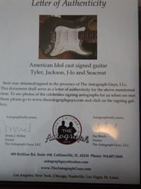 AMERICAN IDOL CAST SIGNED GUITAR BY TYLER, JACKSON, J-LO AND SEACREST