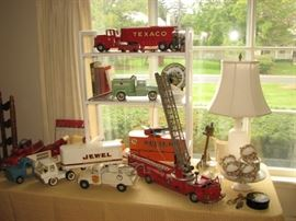 Vintage Tin Litho & Die Cast trucks including Texaco, Deerfield Fire Dept, Jewel Delivery and more