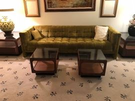 Mid century sofa, 4 matching mid century end tables