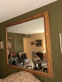 Excellent condition gold tone framed mirror, art work