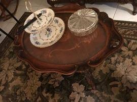 Antique inlaid table, carpet
