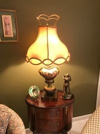 Matched pair of lamps, matched pair of oval French side tables with original hardware...very good condition....