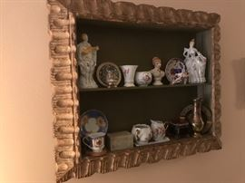 Antique shadow box with vintage porcelains