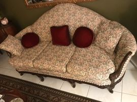 Antique carved wood frame, custom sofa-excellent condition............