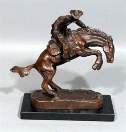 "Remington Bronco Buster Bronze Statue On Stone Base, 9""H"
