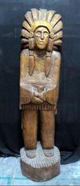 "Ivan Crane Solid Wood Carved Store Front Indian, Marked Rutlander, 71""H x 19"" Base Dia"