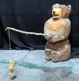 "Chain Saw Carved Fishing Bear With Fish On Pole, 24""H x 11"" Base Dia"
