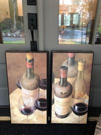 "A pair of Wine Glasses & Bottle pictures - 30""x 15"" each  $40 each or $75 for the pair."