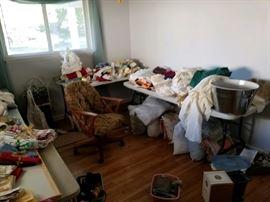 Linens galore! Afghans, curtains, placemats, tablecloths, etc.