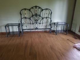 Ornate Painted Steel and Brass Queen Headboard Footboard with matching  Glass topped Nightstands $150