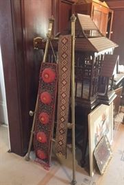 Asian & English (or American) beaded hangings on an antique brass easel in the dining room.