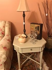 One of 3 pieces of a Carol House painted Coffee and End Table Set.