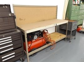 Metal Workbench with Wood Top, and Peg Board