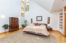 Rocke Bobois leather bed (king) and highboy dresser made from Olive wood