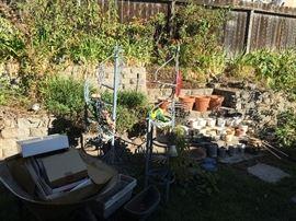 Plants, pots, garden tools and decor