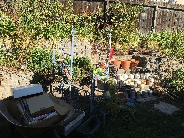 Plants, pots, garden tools and decor