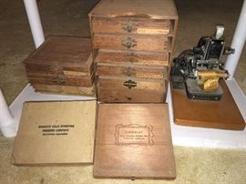 Antique Kingsley gold lettering machine. Letter stamps and gold paper