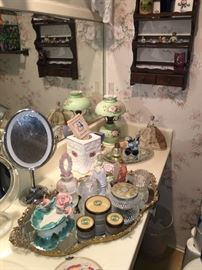 Vintage mirror trays, perfume bottles, etc