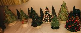 vintage light up ceramic christmas trees--10 of them