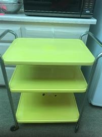 Vintage yellow Cosco utility cart- only small enamel chip on bottom.