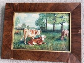 "Original 1911 Cows Watercolor ""Heyboer"""