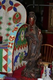 "32"" CARVED AND POLYCHROMED WOODEN QUAN YIN STATUE"