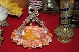 spangle art glass basket with twig handle