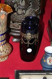 cobalt blue art glass vase with gold engraving