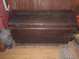 Antique immigrant trunk,  dated 1842