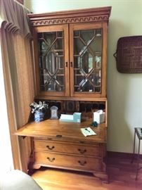Antique pine secretary / bookcase