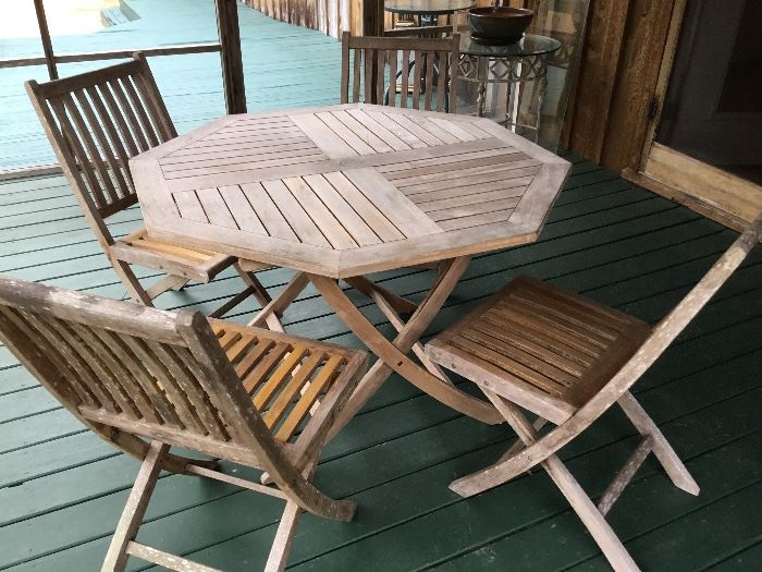Ballard designs teak table & 4 chairs
