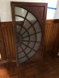 Antique large glass and walnut window