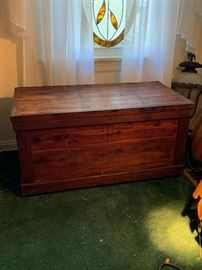 18th century blanket chest pine with cider liner.