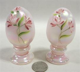 TWO FENTON IRIDESCENT GLASS EGGS