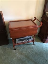 Vintage, cherry tea cart.  REALISTIC stereo system.