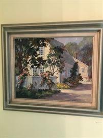 """Signed """"Helen Sharp Potter"""" Nantucket scene, oil on canvas."""
