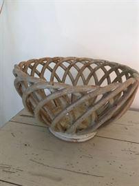 "Signed ""RAD"" pottery basket."