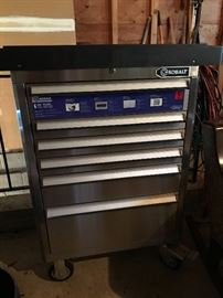 Six Drawer KOBALT tool organizer with electric outlet accessory.  Stainless steel construction with removable top organizer.  Loaded with tools that go with it.