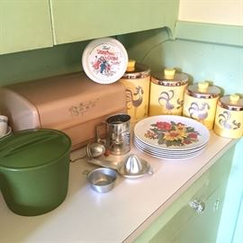 Vintage bread box and canisters