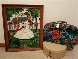 Vintage Suitcase & Hat Box, and Cinderella Art