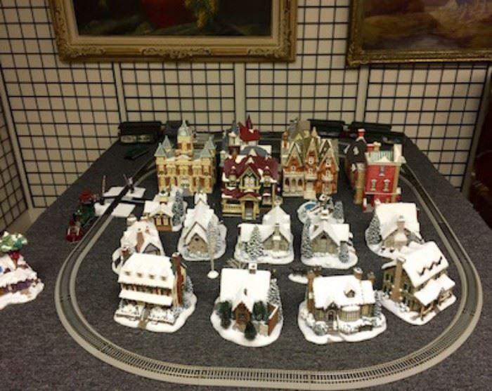 Dept 56 Christmas House/Building - Plus Thomas Kinkade Hawthorne Village Christmas Houses and Buildings and a Thomas Kinkade Christmas Train Set.