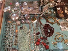 Jewelry, vintage vanity jars, sterling inkwell