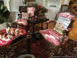 Red toile French chairs, Simpich cloud babies