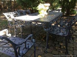 Renaissance style cast aluminum patio dining set