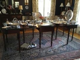 Vintage dend dining table, lots of silver