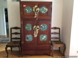 Vintage oriental cabinet with cloisonn panels
