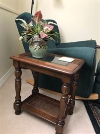 Wooden and glass side table.
